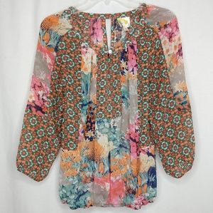 Fig and Flower Anthro Small Floral Long Sleeve Top